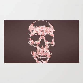 Skulls & Roses Area & Throw Rug by Rui Faria