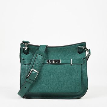 "Hermes ""Malachite"" Green Clemence Leather ""Jypsiere"" 28 cm Flap Bag"