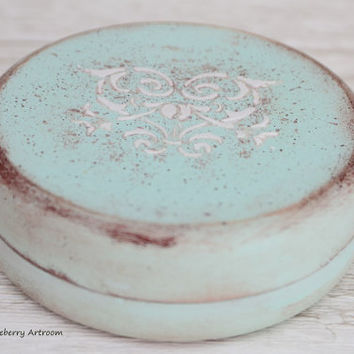 Wedding Ring Box Rustic Mint Shabby chic  Vintage Hand-painted Marriage Love Romance Heart Ornament sage pale green box