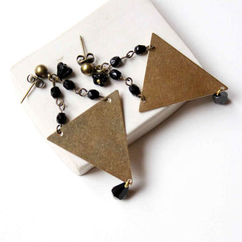 Big Triangle Stud Earrings with Black Glass Beads - Geometric and Minimalist Jewelry