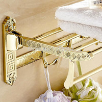 Wall Mount Retro Style Folding Bathroom Towel Rack Antique Towel Shelf & Hooks Og-522