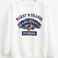 White Printed Orange Loose Sweatshirt