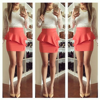 Peplum Mini Ruffle Skirt - Coral