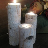 3 Large Birch Bark Log Tea Light Candle Holder by FloralAccents