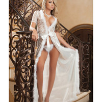 Glam Night Lace Robe W-fur & Sheer Mesh Ivory O-s