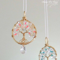 Glass Citrine Aquamarine Clear Quartz Tree of Life Sun catcher Car Mirror Charm Hanger Pendant