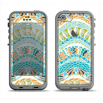 The Vector Teal & Green Snake Aztec Pattern Apple iPhone 5c LifeProof Fre Case Skin Set