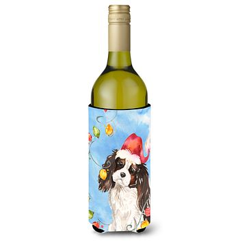 Christmas Lights Tricolor Cavalier Spaniel Wine Bottle Beverage Insulator Hugger CK2510LITERK