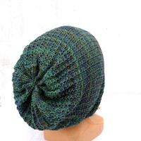 Knitted lace cotton hat, knitting green blue haky cap, women men teen beanie hat, knit colorful cloche slouche, handmade tam, accessories