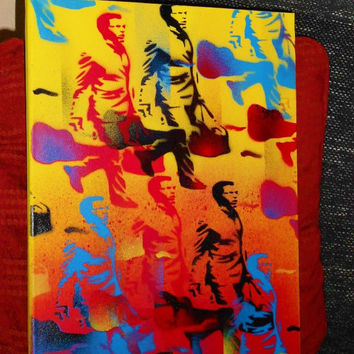 Guitar Man painting on canvas in Warhol style,rush hour,music,stencil art,spray paints,traffic,urban,pattern,wall art,home,pop art painting