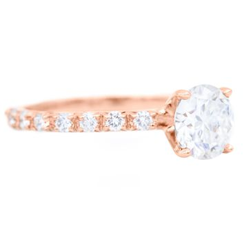 6.5mm Round Moissanite 14k Rose Gold Half Eternity 4 Prong Engagement Ring 1.30 Carat Total Weight