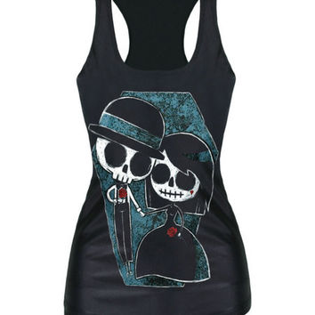 New Summer Sleeveless Vests Casual Fitness Tank Tops With Dead Riding Hood Lovely Printing Shirts Free Shipping