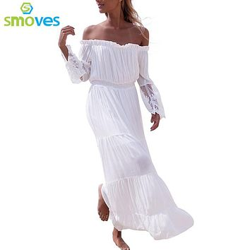 Smoves Off Shoulder White Lace Crochet Elastic Waist Women's Maxi Dress Embroidery Long Summer Spring Beach Dress Sundress New