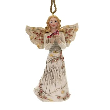 Holiday Ornaments BIRCH ANGEL HOLDING CARDINAL Woods Christmas C7930 Blonde