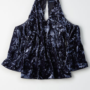 AEO Velvet Cold Shoulder Top, Navy