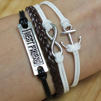 whiteBracelets, personalize cuff bracelets,leather bracelets,infinite love bracelets, gfits for him her s0038