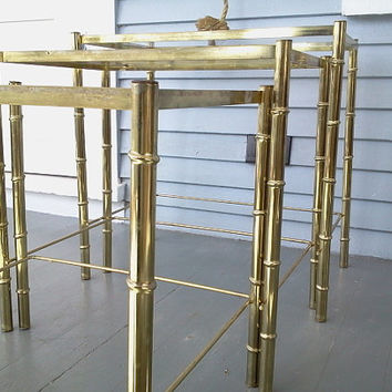 Three, Vintage, Nesting Tables, Hollywood Regency Style, Metal and Glass