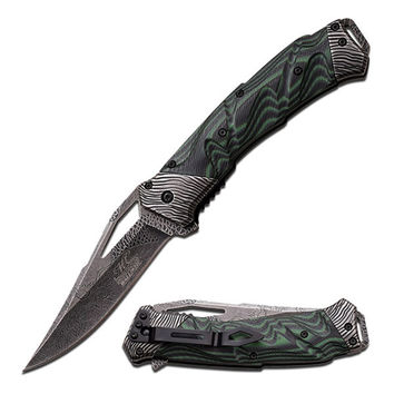 """Master Collection Spring Assist Knife 5""""-Black/Green Handle"""