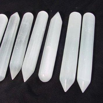Massage Stones 6 -7 Inch Selenite Massage Wand, Reiki, Chakra, Crystal Healing