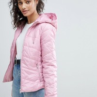 Bershka Hooded Puffer Jacket at asos.com