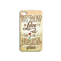 We Found a Love in a Hopeless Place Mermaid iPhone Case Pretty iPod Case iPhone 4 iPhone 5 iPhone 5s iPhone 4s iPhone 5c iPod 4 iPod 5 Case