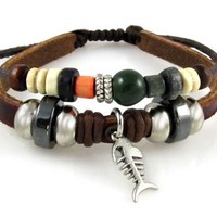 Fish Bone Brown Leather Beaded Surfer Zen Bracelet in Gift Box