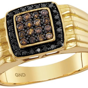10kt Yellow Gold Mens Round Cognac-brown Black Colored Diamond Square Cluster Band Ring 3/8 Cttw