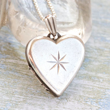 Vintage Heart Locket - Sterling Silver necklace - Love Pendant on Chain