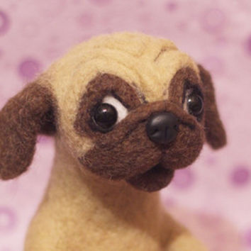 Pug needle felted toy, needle felted dog figurine, dog soft sculpture from pure wool