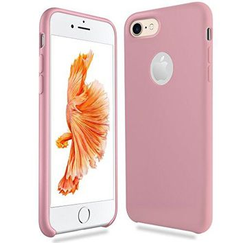 iPhone 7 Case, EatekPower [Aesthetic Series] Apple iphone 7 Case Protective Silicone Thin Shockproof with Soft Microfiber Lining Cushion Scratch Resistant,Anti-Stain iphone7 Case Thin(Pink)