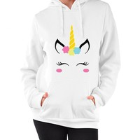 Women Casual Unicorn Pattern Print Loose Long Sleeve Hooded Sweater Tops