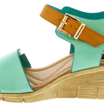 MAIA1 MINT CAMEL ANKLE STRAP OPEN TOE WEDGE