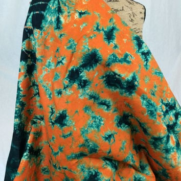 Made in Kenya--African Tie Dye Fabric--African Batik Fabric--Orange and Emerald Green--African Fabric by the HALF YARD