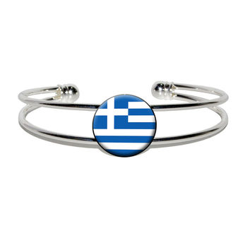 Greece Greek Flag Silver Plated Metal Cuff Bracelet