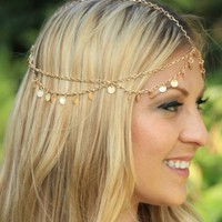 Golden Disc Chain Crown Headpiece
