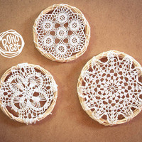Crochet Mandalas - 3 Crochet Round Mandala Mobile with White Handmade Vintage Crochet in Wooden Frame - Boho Home Decor, Nursery Decoration