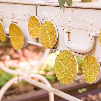 Gold Glitter Circle Sewn Paper Garland (Pack of 1)
