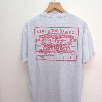 25% SALES ALERT Vintage 90's Levis Strauss And Co Denim Wear Tshirt Streetwear Rock Punk Tops & Tee T Shirt Size L