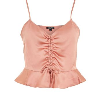 Satin Ruched Camisole Top - Clothing