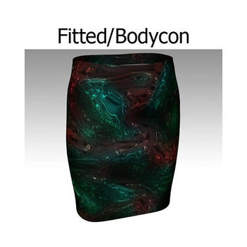 Abstract Skirt, Green Skirt, Red Skirt, Flare Skirt, Skater Skirt, Fitted Skirt, Bodycon Skirt, Dark Skirt, Swirl Skirt, Dark Galaxy Skirt