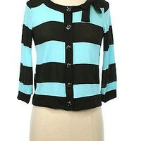 Stylish Wide Stripe Open Front KNIT CARDIGAN SWEATER Ribbon Trim Jacket