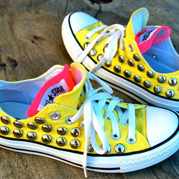 Sunshine Studded Converse - Yellow/Pink Double Tongue - Rare
