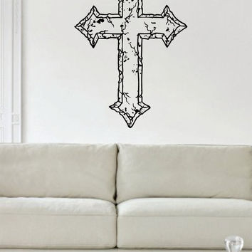 Cracked Cross Religious Decal Sticker Wall Vinyl Art Home Room Decor
