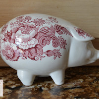 Vintage Figural Red Ironstone Transferware Pig Piggy Bank Roses Pheasants