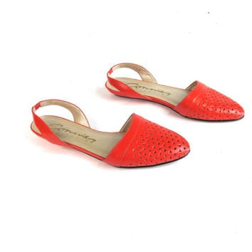 80s Pointed Toe Slingback Flats Orange Leather Flats Cut Out Flats Pointy Toe Flats Perforated Strap Low Wedge Bright Summer Shoes Size 6.5