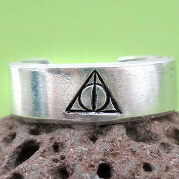 Customizable Deathly Hallows Harry Potter Ring with House Name Inside - Hand Stamped, Adjustable Aluminum