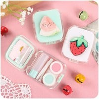3D contact lens case with mirror color fruits contact lens case cute Lovely Travel box Eyewear Accessories