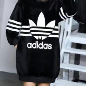 Adidas The winter with thickened long paragraph sweater cashmere cashmere dress warm dress