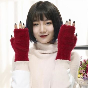 Cute Plush Women Fingerless Gloves Warm Winter Half Finger Gloves Wrist Mittens Fashion Lady Girls Gloves Hand Warmer