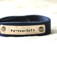 Adventure Bracelet...Silver...Handstamped...Travel...Modern...Simple...Free Shipping
